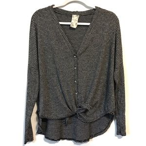 Striped long sleeve tie front blouse